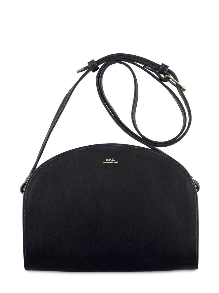 A.P.C. Demi Lune Smooth Leather Bag in green