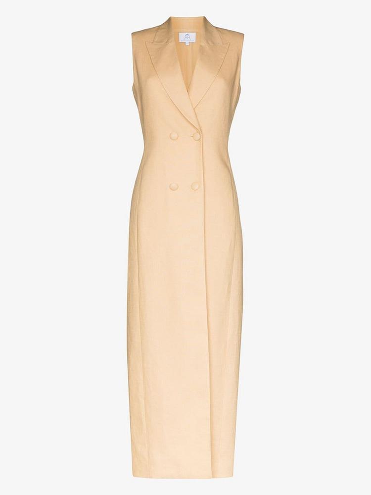 Rebecca De Ravenel Double breasted linen maxi dress in neutrals