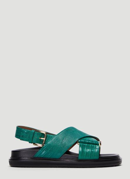 Marni Embossed Fussbett Sandals in Green size EU - 39.5