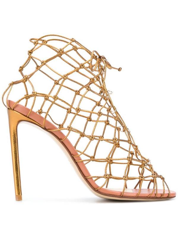 Francesco Russo knot net stiletto sandals in gold