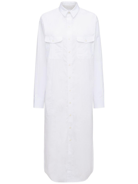 WARDROBE.NYC Cotton Poplin Midi Shirt Dress in white