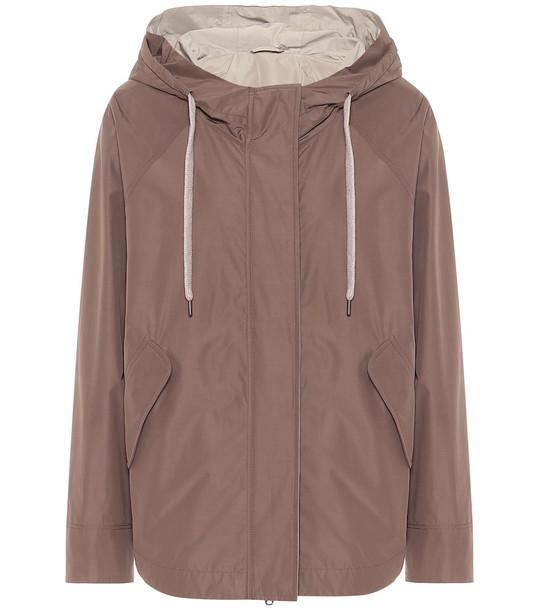 Brunello Cucinelli Hooded cotton-blend jacket in brown