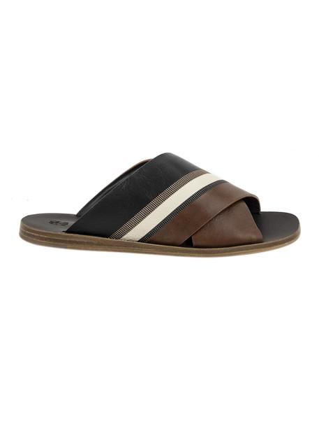 Brunello Cucinelli Criss-cross Strap Flat Sandals in black / brown