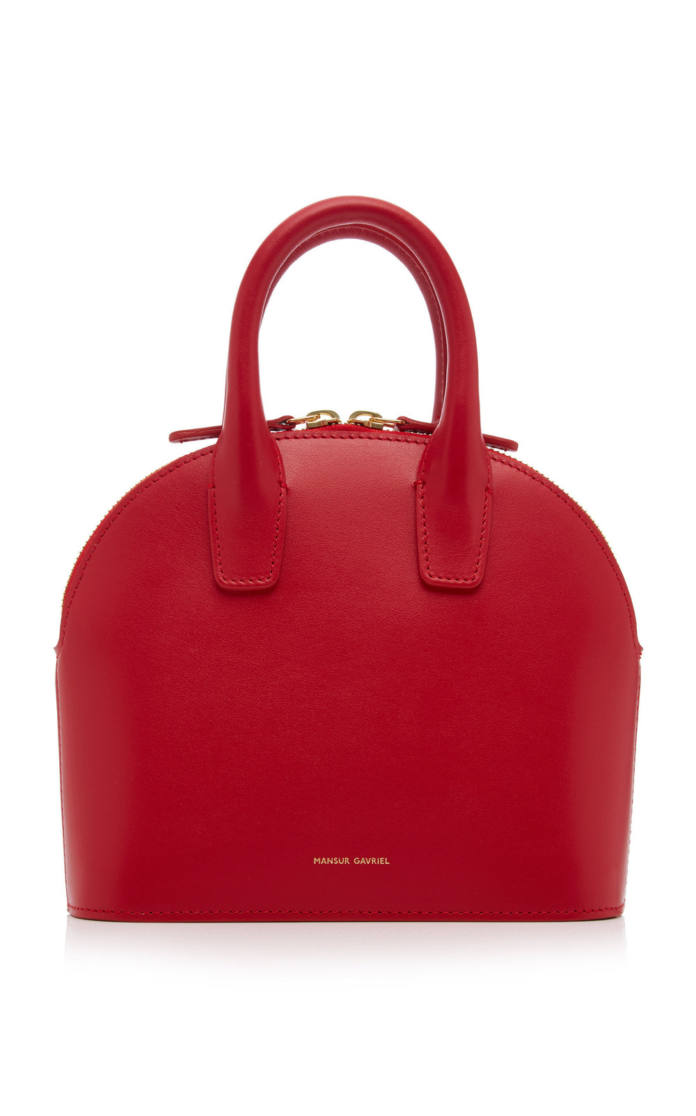 Mansur Gavriel Mini Leather Top Handle Bag in red
