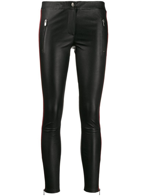 Arma side panel leather leggings in black