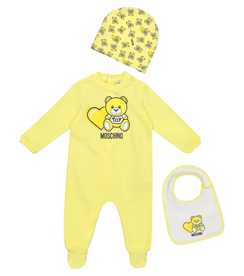 Moschino Kids Baby stretch-cotton onesie, bib and hat set in yellow