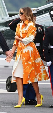 shoes,coat,pumps,yellow heels,melania trump,celebrity,first lady outfits