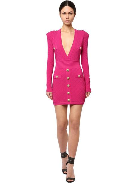BALMAIN Fitted Viscose Blend Knit Mini Dress in fuchsia