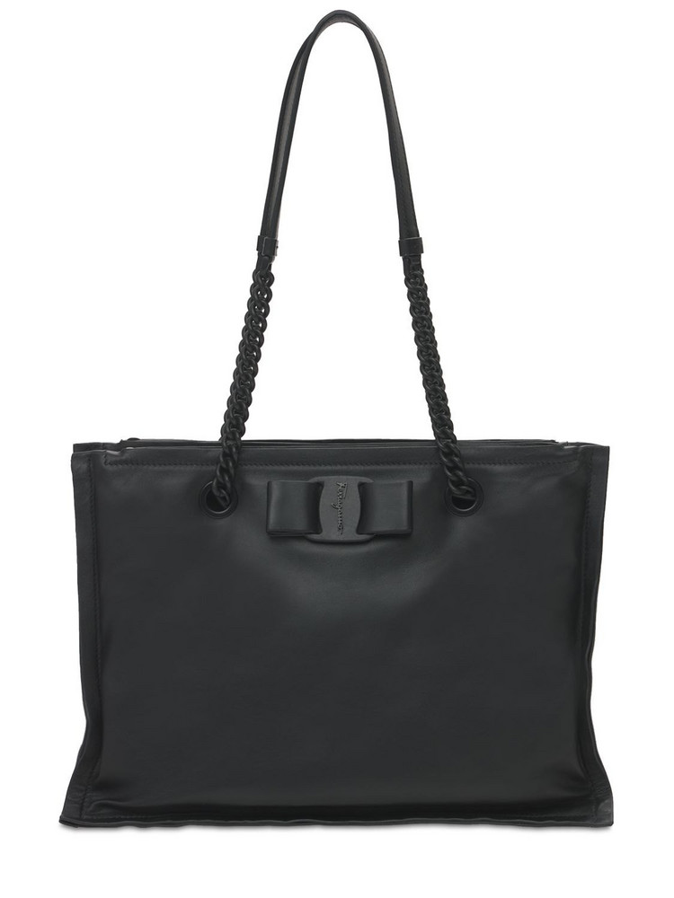 SALVATORE FERRAGAMO Viva Tote Leather Shoulder Bag in black