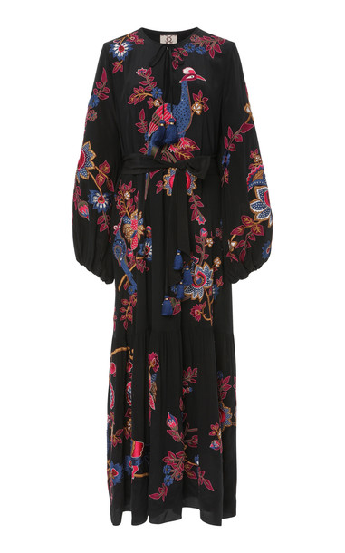 Figue Kailey Embroidered Silk Midi Dress in black