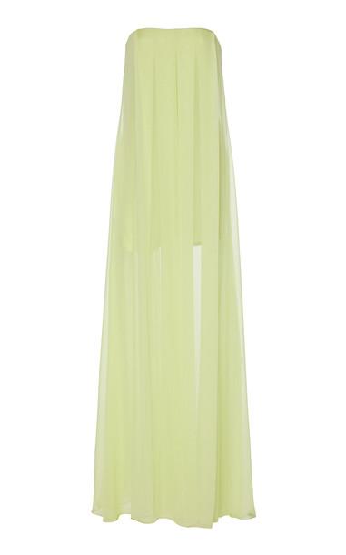 Cushnie Layered Strapless Silk Wide-leg jumpsuit in green