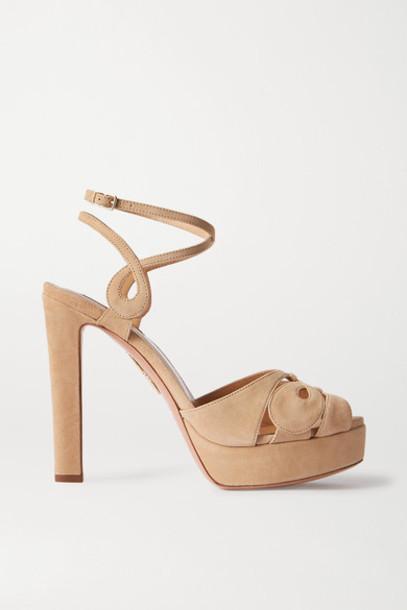 Aquazzura - Gardena 120 Suede Platform Sandals - Neutral