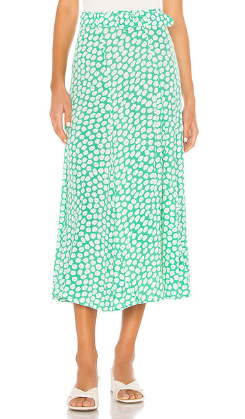 FAITHFULL THE BRAND Valensole Midi Skirt in Green