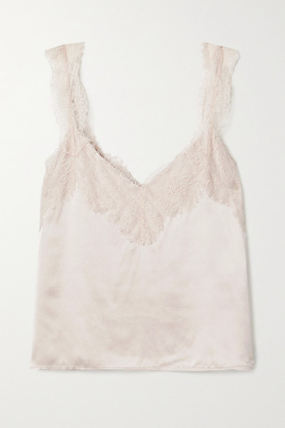 Cami NYC - The Brandice Lace-trimmed Silk-charmeuse Camisole - Beige
