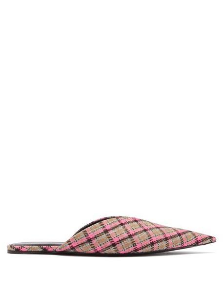 Balenciaga - Knife Check Wool Backless Flats - Womens - Multi