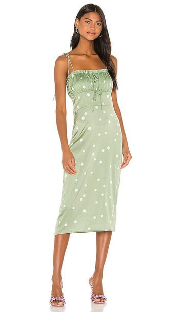 For Love & Lemons Robin Cheetah Midi Dress in Green in mint