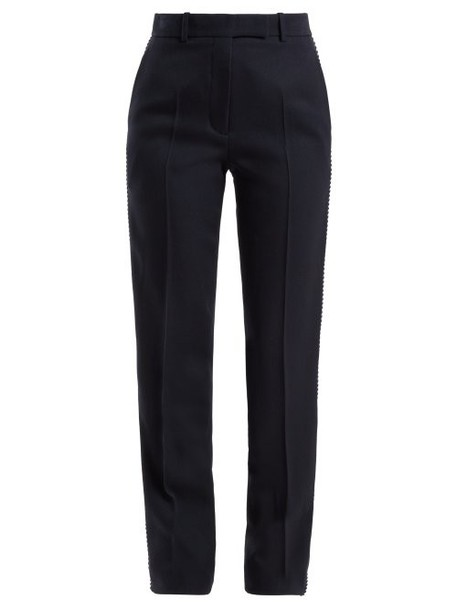 Calvin Klein 205w39nyc - Side Stripe Straight Leg Wool Trousers - Womens - Navy