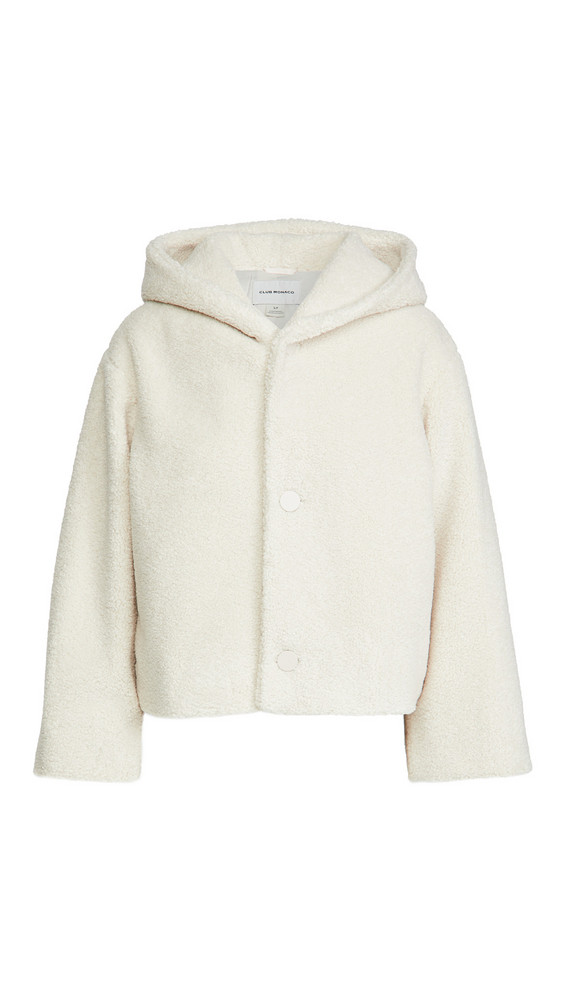 Club Monaco Cropped Faux Fur Jacket in ivory