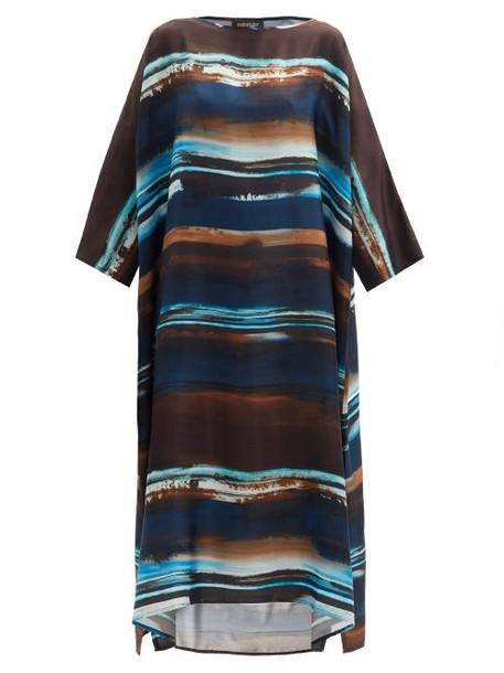 Eskandar - Striped Silk-charmeuse Tunic Dress - Womens - Navy Multi