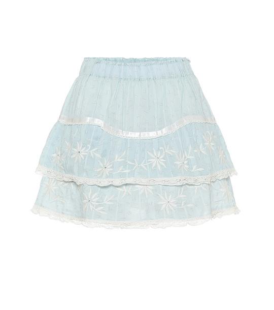 LoveShackFancy Tully lace-trimmed cotton miniskirt in blue