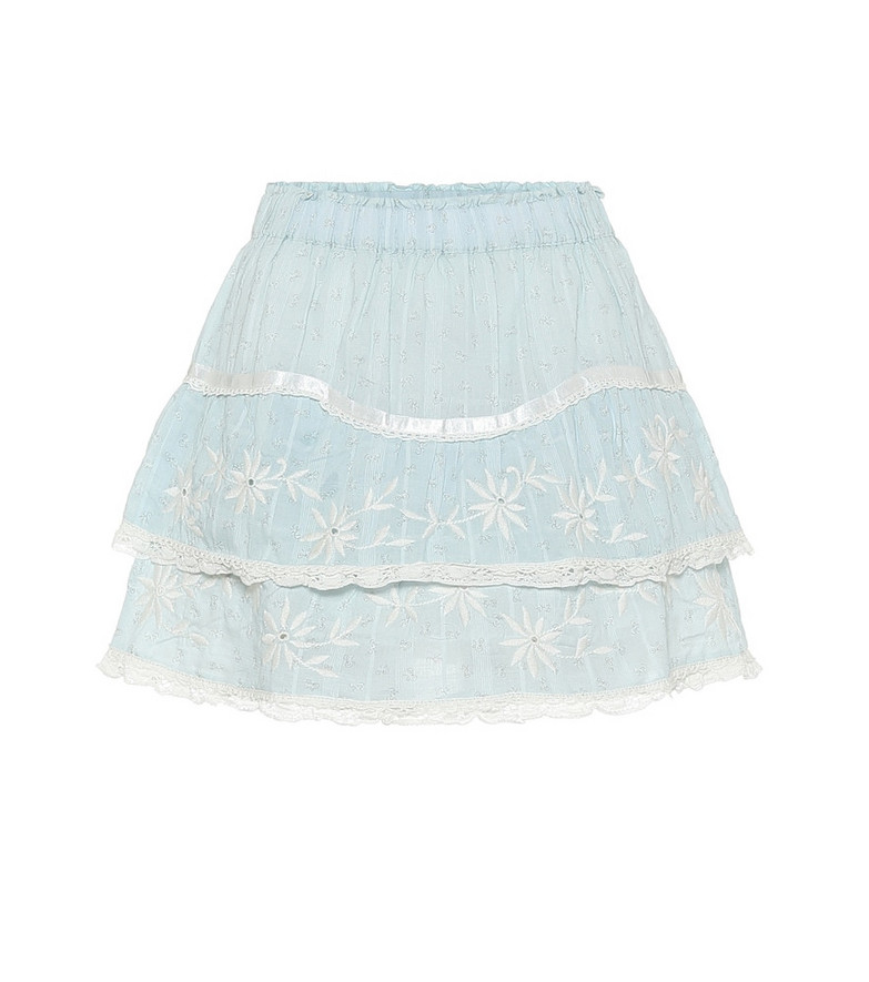 LoveShackFancy Tully lace-trimmed cotton miniskirt in blue