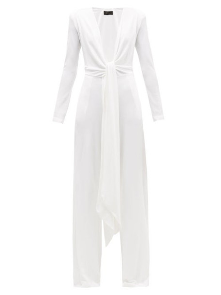 Dundas - Plunge-neck Jersey Wide-leg Jumpsuit - Womens - White