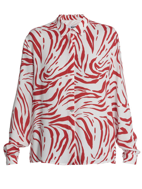 MSGM Animalier Pattern Shirt in red