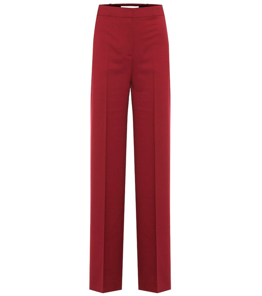 Victoria Victoria Beckham High-rise twill straight pants in red