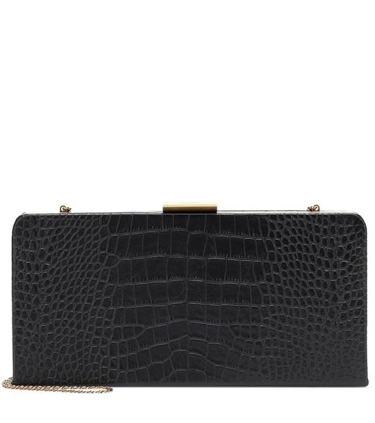 Saint Laurent Evening croc-effect leather clutch in black