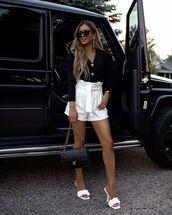 shorts,white shorts,white sandals,black sweater,cardigan,chanel bag
