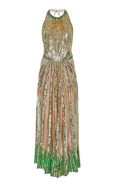 Temperley London Sycamore Sequin-Embellished Gown in green