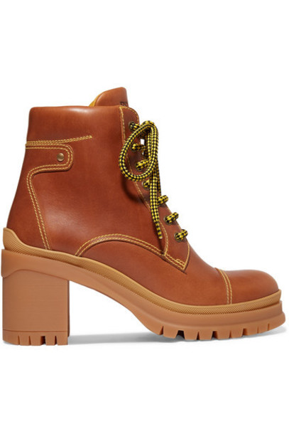 Prada - Leather Ankle Boots - Tan