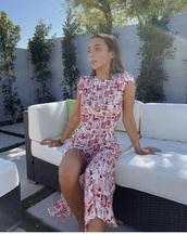 dress,printed dress,emma chamberlain,cap sleeve,pattern,red,white,maxi dress,emma chainberland