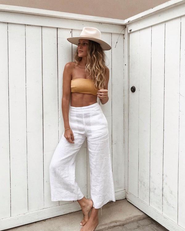 pants white pants high waisted pants wide-leg pants bikini top sun hat