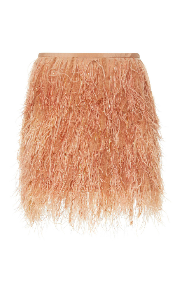 SemSem Feather-Embellished Mini Skirt in pink
