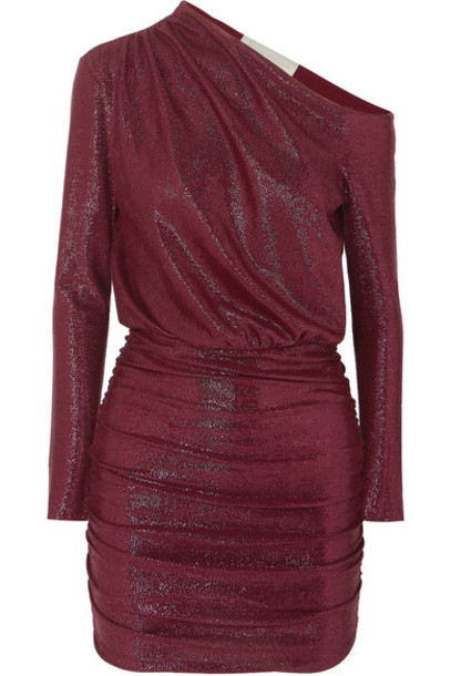 Michelle Mason - One-shoulder Draped Lurex Dress - Burgundy