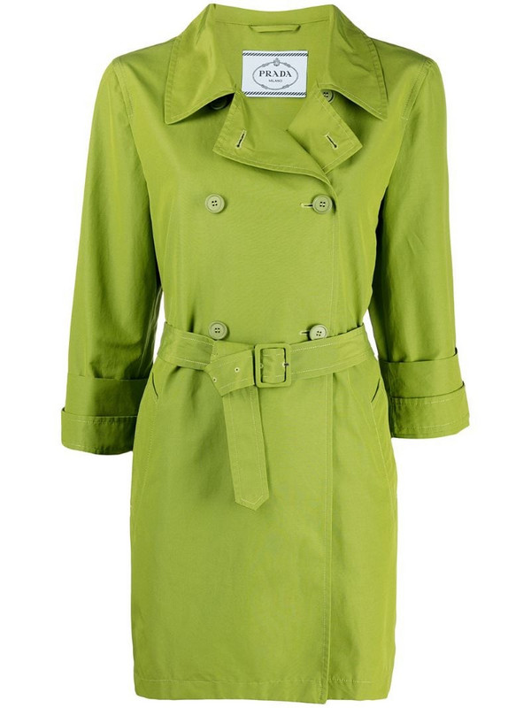 Prada Pre-Owned 1990s double-breasted belted trench coat in green