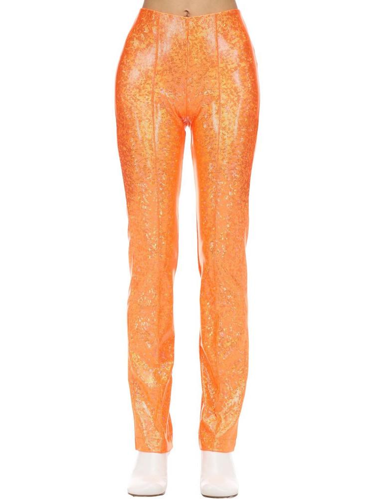 SAKS POTTS Glittered Stretch Jersey Pants in orange