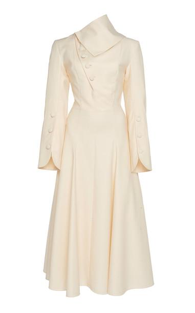 MATÉRIEL Button Wool Midi Dress Size: XS in white