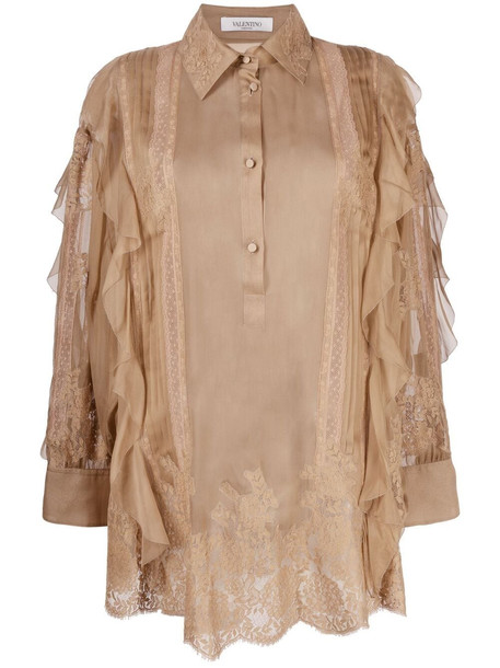 Valentino ruffle-trim silk blouse - Neutrals