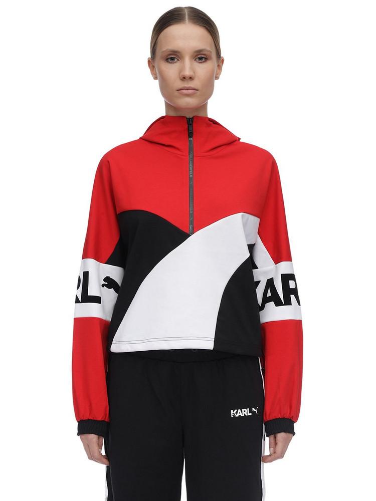 PUMA SELECT Karl Lagerfeld Cropped Sweatshirt Hoodie in red / white