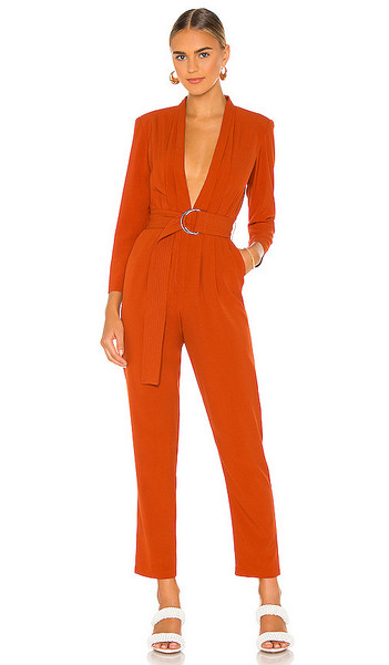 Karina Grimaldi Benjamin Solid Jumpsuit in Orange in brick