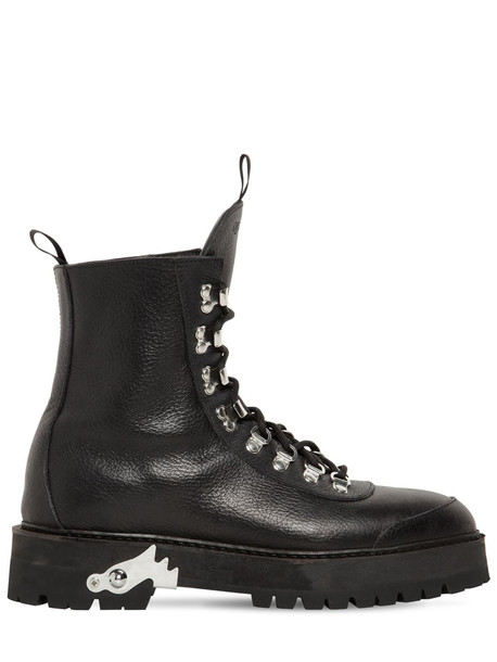 OFF WHITE 40mm Leather Hiking Boots in black