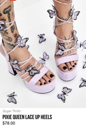 shoes,purple,heels,lace up heels,dolls kill,sugar thrillz,butterfly,butterfly heels,pixie queen lace up heels,lace up