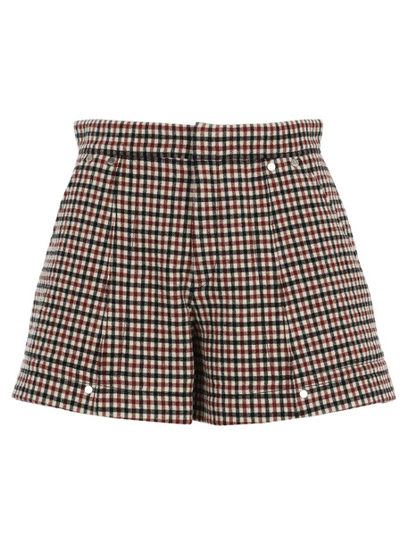 Chloé Chloe Check Shorts in camel / red