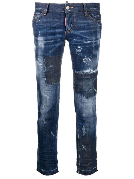 Dsquared2 distressed cropped jeans in blue