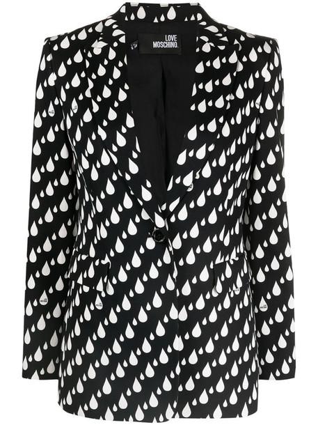 Love Moschino printed single-breasted blazer in black