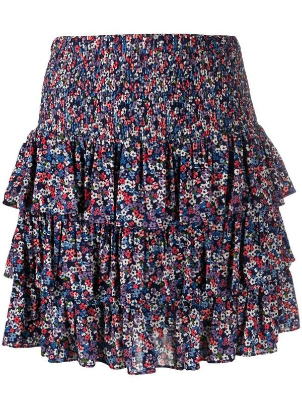 Michael Michael Kors floral-print ruffled skirt in blue