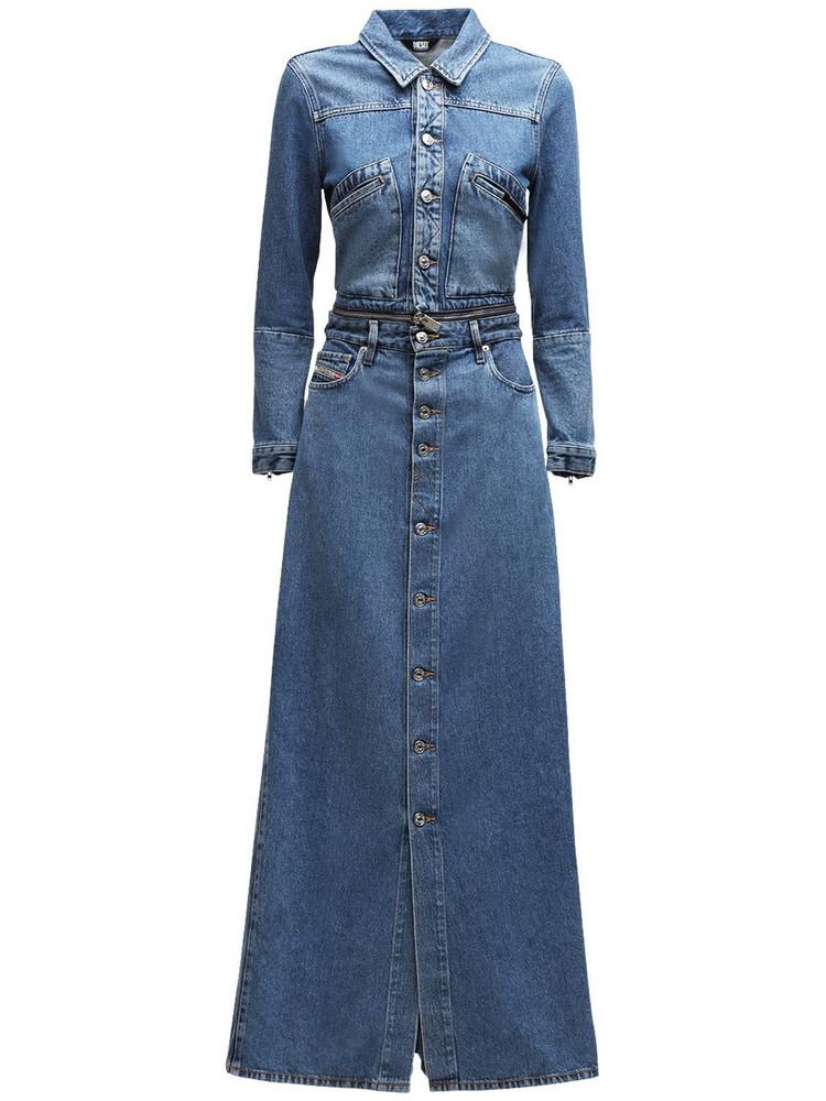 DIESEL De-blochy Convertible Denim Maxi Dress in blue