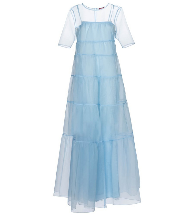 Staud Hyacinth organza maxi dress in blue